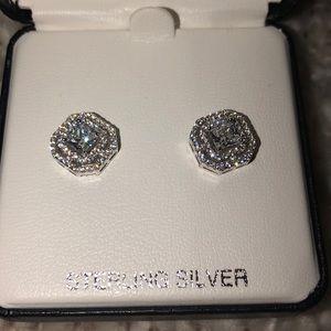 Jewelry - never worn STERLING SILVER diamond earrings